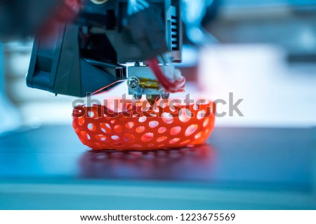 Three dimensional printing machine,3D printer. Royalty-Free Stock Photo #1223675569