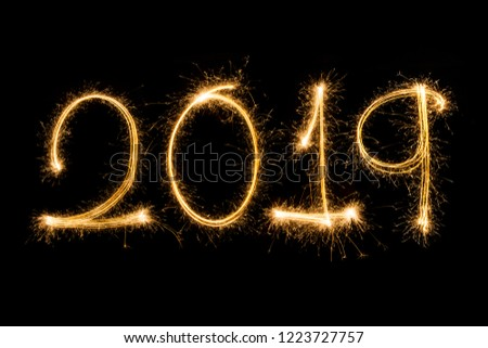Happy new year 2019  written with Sparkle firework #1223727757