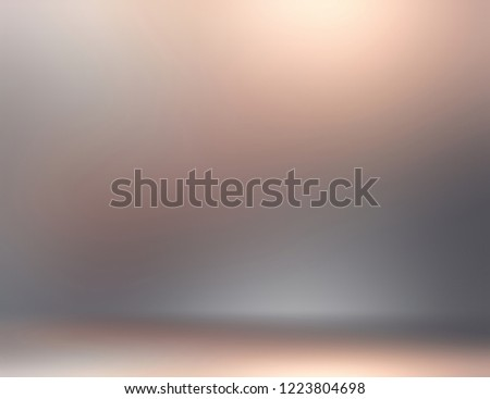 Grey ombre 3d background. Abstract metal texture. Blurred wall and floor illustration. Defocus pattern. Empty room backdrop. #1223804698