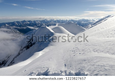View from the slope of Marble Wall Peak, Central Tian Shan, Kazakhstan #1223827657