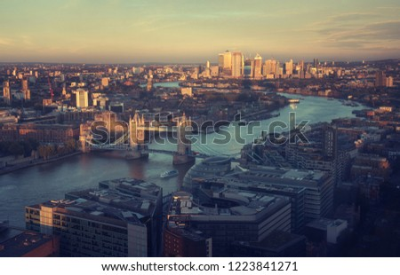 London aerial view with Tower Bridge, UK #1223841271