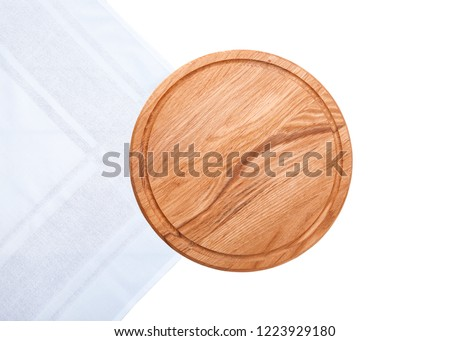 Pizza board with white table cloth isolated on white background. Top view mock up. #1223929180