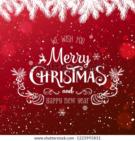 Christmas and New Year Typographical on red Xmas background with winter fir branches, snowflakes, light, stars. Merry Christmas card. Vector Illustration #1223995831