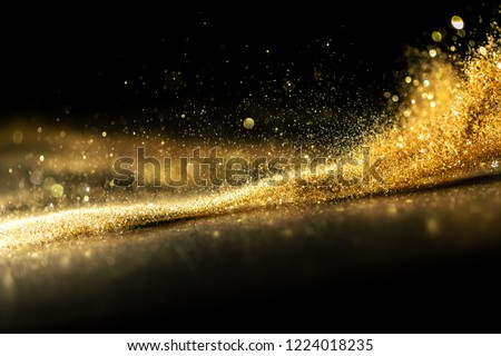 glitter lights grunge background, gold glitter defocused abstract Twinkly Lights Background. Royalty-Free Stock Photo #1224018235