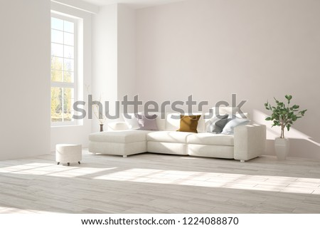 White modern room with sofa. Scandinavian interior design. 3D illustration #1224088870