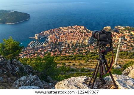 Early morning sunrise shoting timelapse  panorama of Dubrovnik old city defense walls. Location Croatia - Europe. Focus on camera.