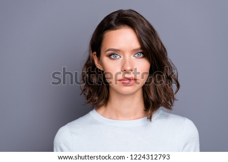 Close up portrait of nice-looking good-dressed lady with her modern hairstyle she look at camera stand isolated on gray wall #1224312793