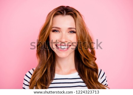 Smart calm success confident lady with her fancy hairdo she look at camera isolated on pastel pink background in striped wear make beaming white smile #1224323713