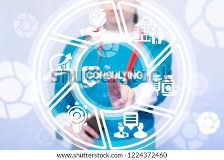 Female doctor push a consulting with speech bubble button on virtual screen. Consulting Healthcare concept. Medicine consult, medical support service, client satisfaction. #1224372460