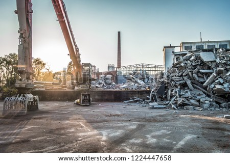 Factory building demolition Royalty-Free Stock Photo #1224447658