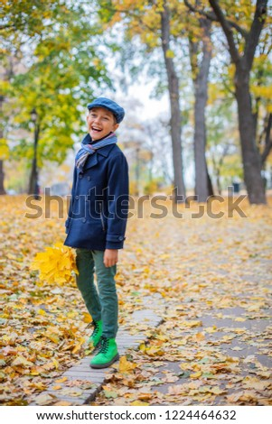 Happy kid boy walking in the Park , a beautiful boy in the autumn nature #1224464632
