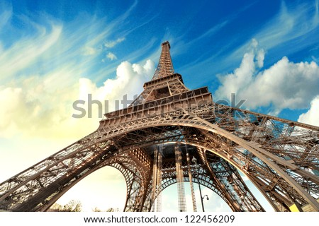 Paris. Beautiful view of Eiffel Tower with sky sunset colors. Royalty-Free Stock Photo #122456209