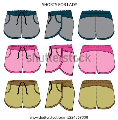 short for girl pattern vector template #1224569338