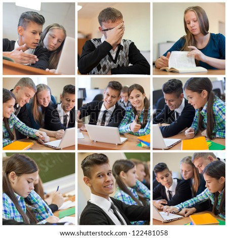 Collage of young students while examination high school #122481058