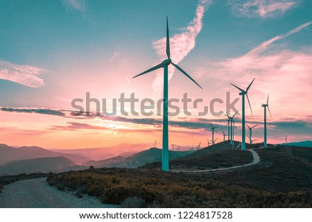 Wind turbines on beautiful sunny summer purple autumn mountain landsape. Curvy road through mountain Eolic park. Green ecological power energy generation. Wind farm eco field #1224817528