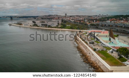 Aerial view of Commerce Square and Lisbon skyline, Portugal. #1224854140