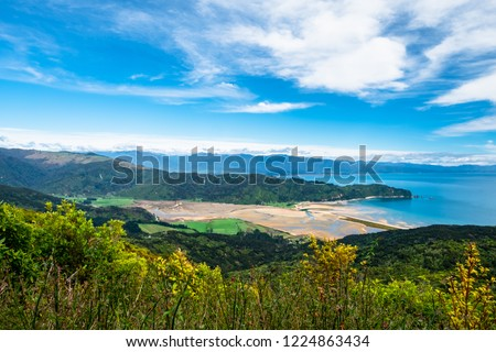 A beautiful beach along the coastline in Abel Tasman National Park, South Island, New Zealand. #1224863434