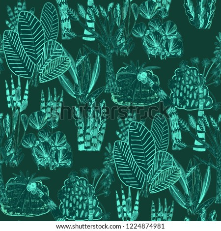 Creative seamless pattern with tropical leaves. Trendy hand draw texture.   #1224874981