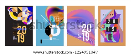 2019 New Abstract Poster Background Design Template. Vector Illustration and Typography Colorful Collage Cover and Page Layout Design Template in eps10.  #1224951049