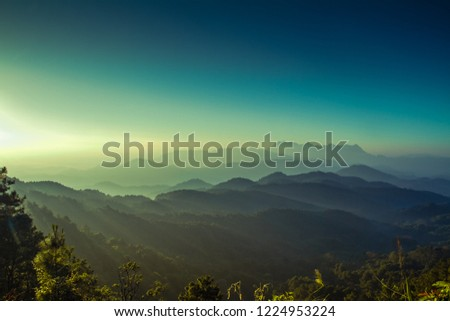 landscape view of sunrise morning on top mountain at Doikhumfah,Phadang National Park,Chaing Mai Province Thailand #1224953224