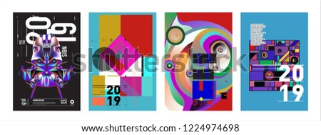 2019 New Abstract Poster Background Design Template. Vector Illustration and Typography Colorful Collage Cover and Page Layout Design Template in eps10.  #1224974698