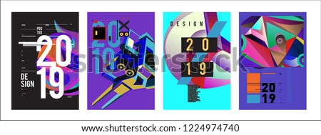 2019 New Abstract Poster Background Design Template. Vector Illustration and Typography Colorful Collage Cover and Page Layout Design Template in eps10.  #1224974740
