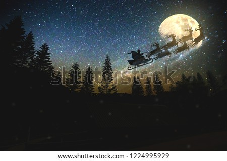 Noise pic,Christmas,Merry Christmas and happy holidays! Santa Claus flying in his sleigh against moon sky.
