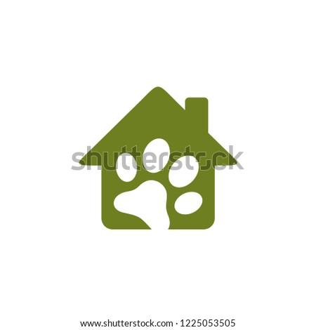 House Paw Print, Pet Logo Vector