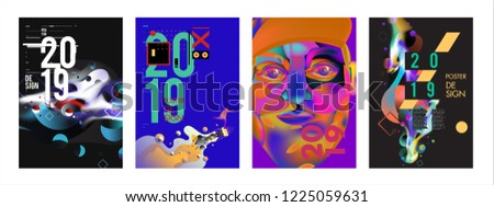2019 New Abstract Poster Background Design Template. Vector Illustration and Typography Colorful Collage Cover and Page Layout Design Template in eps10.  #1225059631