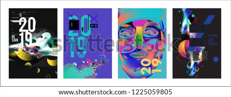 2019 New Abstract Poster Background Design Template. Vector Illustration and Typography Colorful Collage Cover and Page Layout Design Template in eps10.  #1225059805