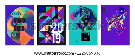 2019 New Abstract Poster Background Design Template. Vector Illustration and Typography Colorful Collage Cover and Page Layout Design Template in eps10.  #1225059838