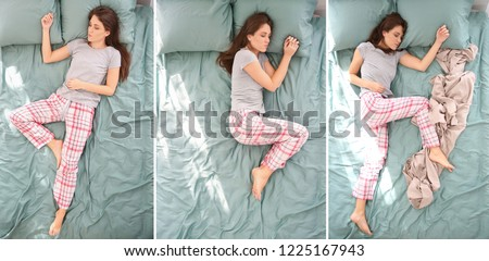 Beautiful woman sleeping in different positions on bed, top view Royalty-Free Stock Photo #1225167943