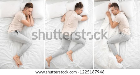 Handsome man sleeping in different positions on bed, top view Royalty-Free Stock Photo #1225167946