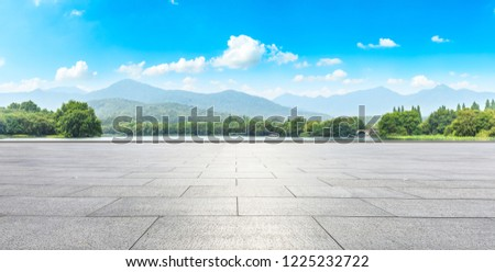 Empty floor and green mountain with beautiful clouds  #1225232722
