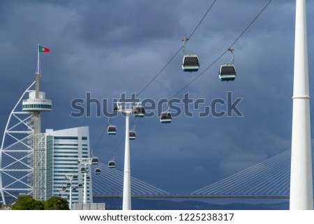 Cable car, Vasco da Gama tower and Ponte Vasco de Gama brigde  in Lisbon, Portugal #1225238317