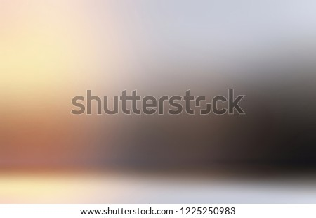 3d wall and floor. Yellow grey black ombre pattern on background. Golden silver room. Abstract metal gloss texture. Blank interior.  #1225250983