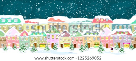 Winter city landscape, seamless. City street in winter. The houses are covered with snow. Snow on a city street. Snow-covered city.                      #1225269052