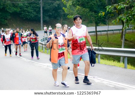 Chiang Rai THAILAND-9:29:2018: MFU RUN 2018 in Mae Fah Luang University Chiang Rai Thailand.People. Running at city streets. #1225365967