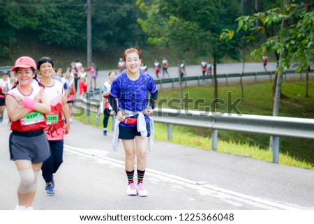 Chiang Rai THAILAND-9:29:2018: MFU RUN 2018 in Mae Fah Luang University Chiang Rai Thailand.People. Running at city streets. #1225366048