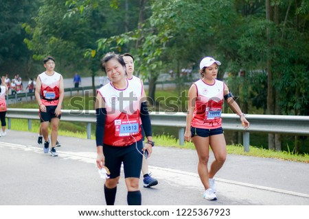 Chiang Rai THAILAND-9:29:2018: MFU RUN 2018 in Mae Fah Luang University Chiang Rai Thailand.People. Running at city streets. #1225367923