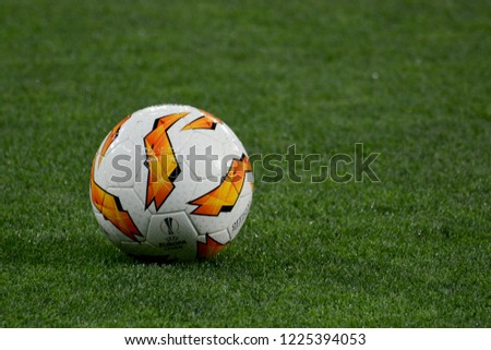 KYIV, UKRAINE – NOVEMBER 8, 2018: Official ball of the UEFA Europa League at the Olympic stadium #1225394053