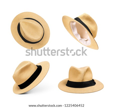 Set of straw hats on an isolated white background #1225406452