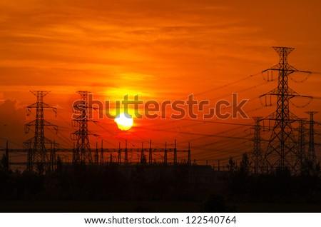 Electric power pylon at sunset #122540764