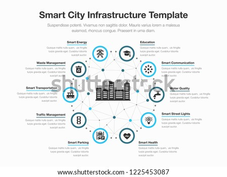 Simple vector infographic for smart city infrastructure with icons and place for your content, isolated on light background. Royalty-Free Stock Photo #1225453087