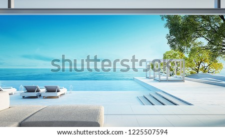 Beach living on Sea view - perfect living / 3d rendering #1225507594