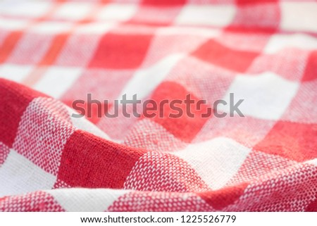 red and white checkered creased  kitchen towel background texture #1225526779