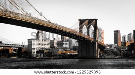 Artistic Shot Of The Brooklyn Bridge In New York In Two Tone Gold #1225529395
