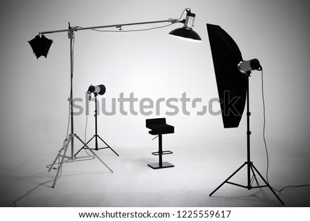 Ready photo shoot setup in white background in the studio.