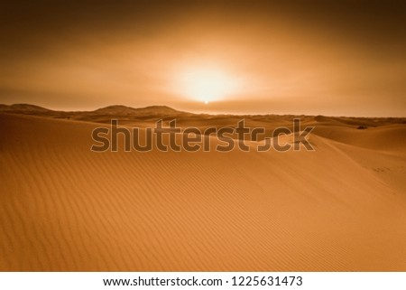 Majestic beautiful scene of Merzouga dunes of Sahara desert Morocco. #1225631473