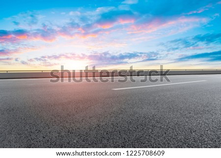 Sky Highway Asphalt Road and beautiful sky sunset scenery #1225708609
